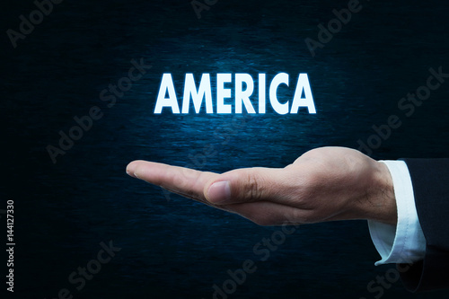 Hand holding America word Poster