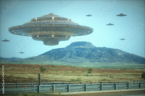 Alien mother ship. Alien invasion of spaceships. Poster