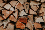 Woodpile of cut trees in the lumberyard. Background and texture with space for text or image. Fire wood prepared for winter.