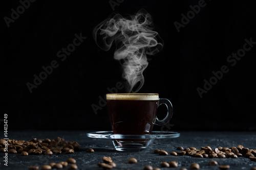 Steamy Coffee on Dark Background Poster