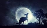 Natural Safari landscape and kangaroo . Mixed media