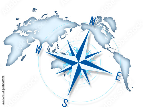 Fotobehang Wereldkaarten 経営方針 ビジネス 世界地図 コンパス
