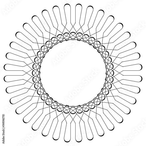 Geometric circular pattern. Abstract motif with radiating intersecting lines - 144146710