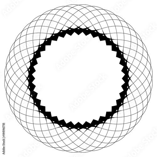 Geometric circular pattern. Abstract motif with radiating intersecting lines - 144146718