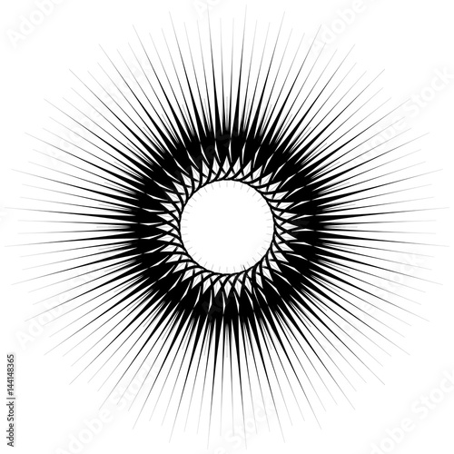 Geometric circular pattern. Abstract monochrome illustration series - 144148365