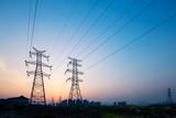 pylons in blue sky at sunrise - 144148520