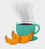 coffee cup bread dessert vector illustration eps 10
