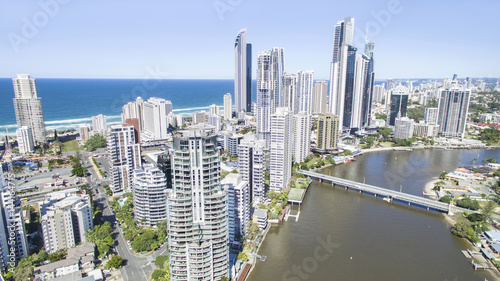 erial view of Surfers Paradise skyline and Thomas Drive Bridge linking Chevron Island