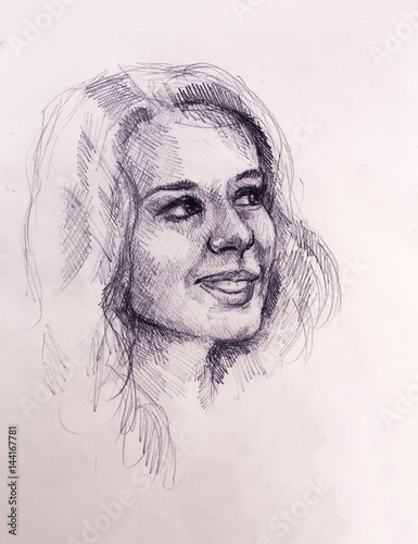 Portrait beautiful woman. pencil drawing on old paper.