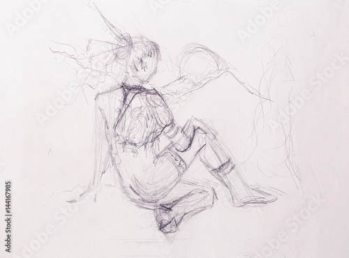 Sketch of indian woman. pencil drawing on old paper.