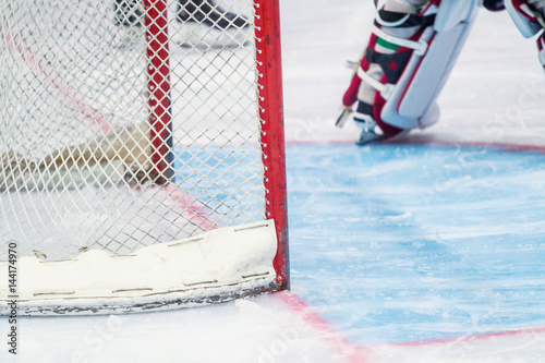 ice hockey goalie during a game Poster