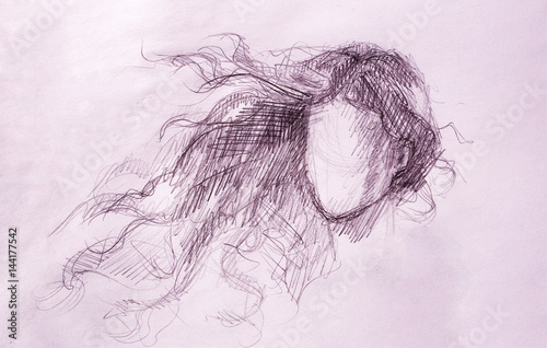 sketch of woman and fluttering hair. pencil drawing on old paper.