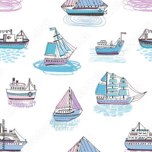Seamless pattern with doodle ships, yachts, boats, sailing craft, sailboat, nautical vessel. Background with sea transport. Colorful hand drawn illustration.