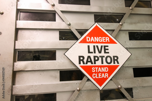 Warning sign of Live dinosaur inside big box Poster