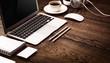 Modern devices on wooden desktop