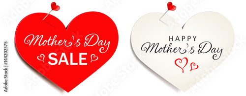 Heart-shaped paper with pushpin - Mother's Day Set
