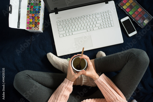 top view of working woman at home Poster