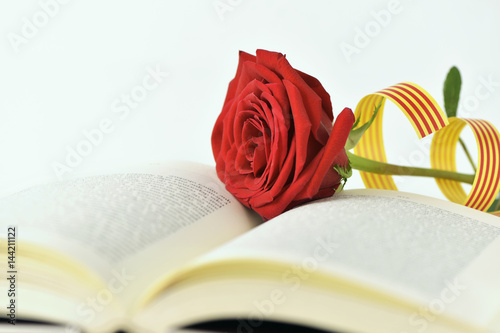 red rose and catalan flag in an open book Poster