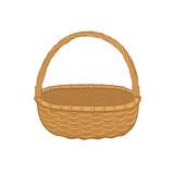 Picnic basket isolated on white background. Illustration of empty bamboo basket. - 144211350