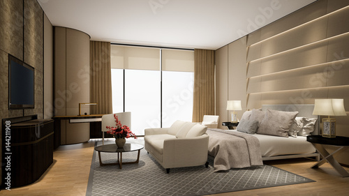 Modern hotel room with tv and window