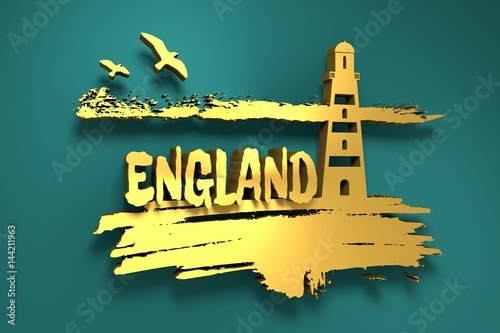Lighthouse on brush stroke seashore. Clouds line with birds. 3D rendering. England text. Metallic material