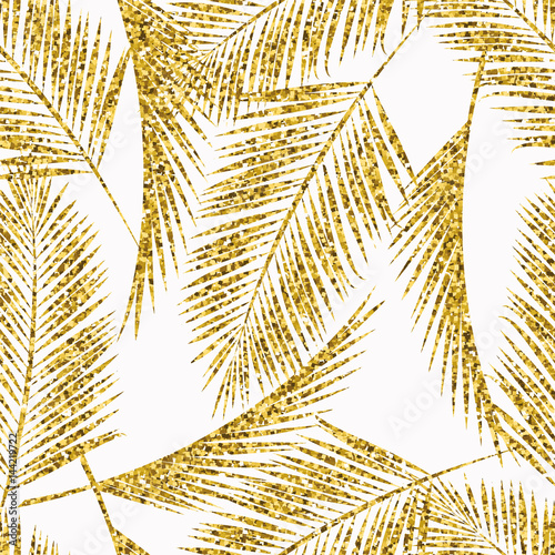 Seamless exotic pattern with palm leaf silhouettes. - 144219722
