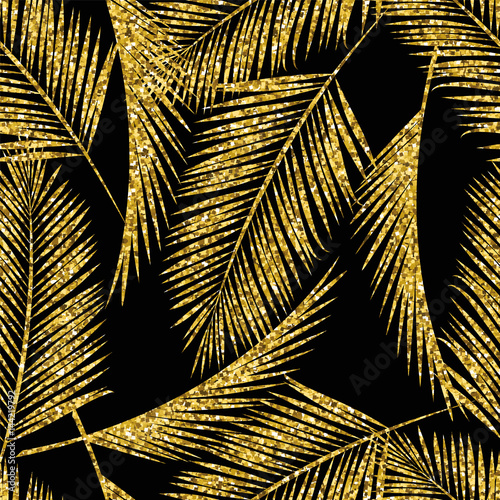 Seamless exotic pattern with palm leaf silhouettes. - 144219792