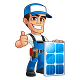 Friendly technician installer of solar panels, he wears a belt with tools - 144220595