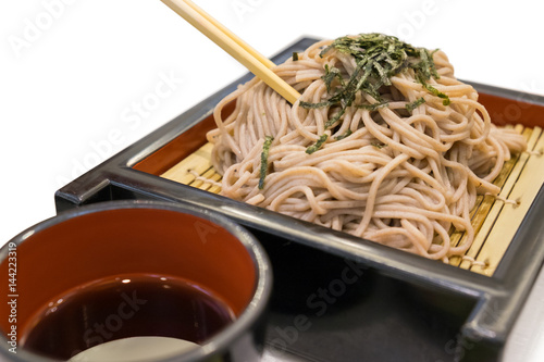Soba ramen is buckwheat noodles, japanese style food Poster