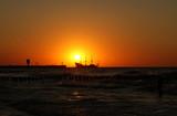 Ship and sunset, Baltic Sea