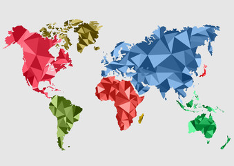 maps of the Earth. world map low poly. Vector illustration