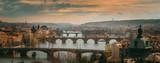 Fototapeta Panoramic view on Prague Bridges