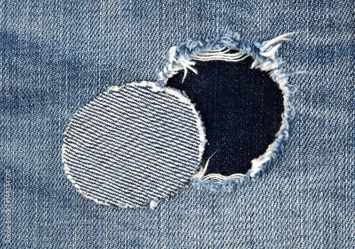 Patched jeans detail