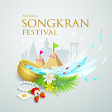 Songkran festival water splash of Thailand design background, vector illustration
