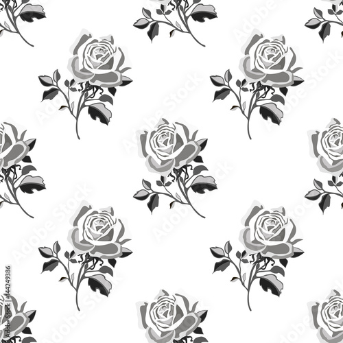 Seamless pattern with roses.Floral vector print.Textile texture - 144249386
