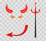 Devil horns, trident, eyes and tail isolated on transparent checkered background. Vector illustration. - 144252743