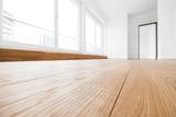 empty room, wooden floor in new apartment - 144254764