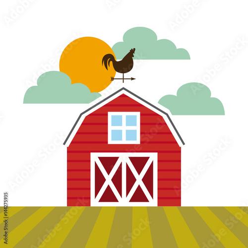farm barn icon over landscape. colorful design. vector illustration