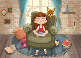 Cute Little Girl and Her Dog in the Living Room. Video Game's Digital CG Artwork, Concept Illustration, Realistic Cartoon Style Background