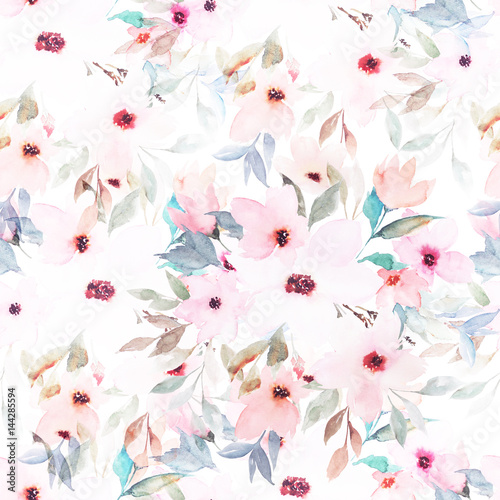Watercolor seamless pattern. Floral print - 144285594