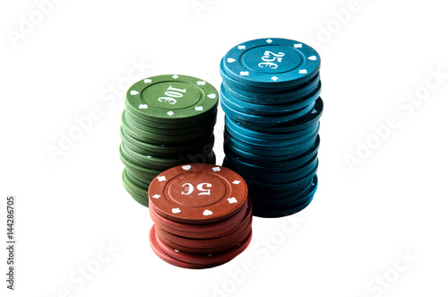 Plakat poker chips or casino on white background