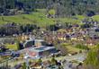 Aerial view of Schladming. Known mountain resort under a massive Dachstein and Schladming Tauern, Austria
