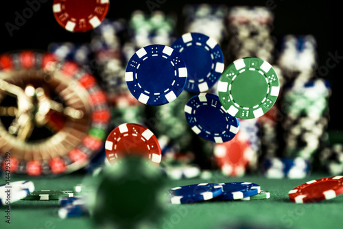 Casino Concept background with dice, roulette and chips плакат