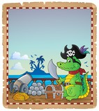 Parchment with pirate crocodile on ship