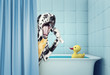 cute dalmatian in the bath
