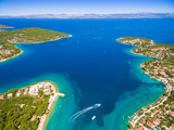 Aerial view of Solta island bays, Croatia. - 144309119