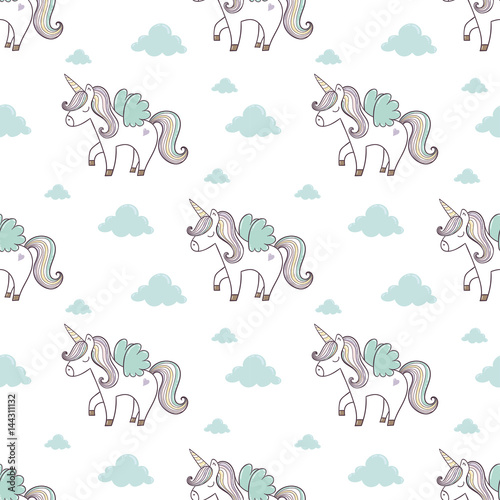 Cotton fabric Pattern with cute unicorn