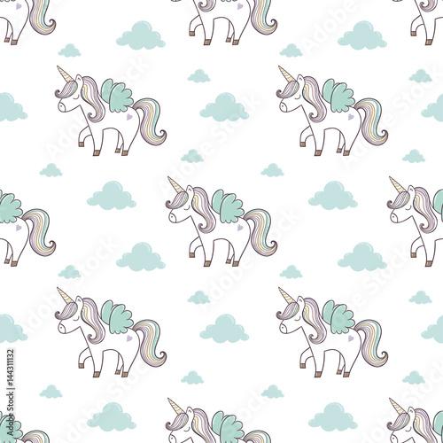 Cotton fabric Pattern with cute unicorn