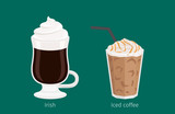 Fototapety Irish and Iced Coffee Drinks Cartoon Illustration