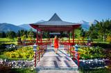 Tourist in Japanese pagoda